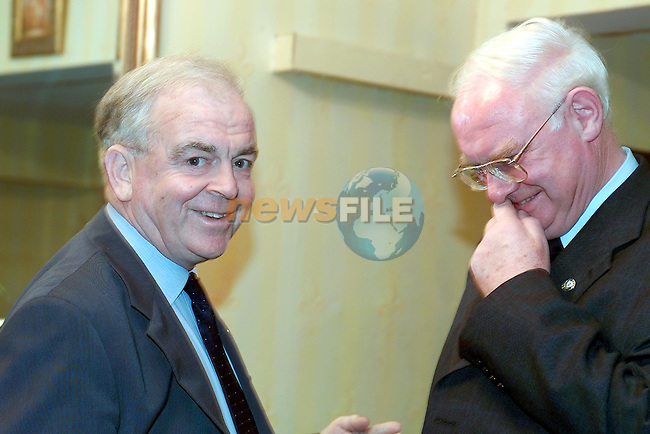 A personal Laugh between John Quinlivan and Brendan Hoey before his party in the Boyne Valley Hotel...Picture Fran Caffrey Newsfile.
