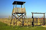 Wieża strażnicza w Auschwitz II-Birkenau.<br /> Watchtower at Auschwitz II-Birkenau.