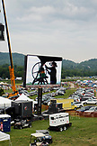 USA, Tennessee, Nashville, Iroquois Steeplechase, shot of the Bell Ringer on the jumbotron before the first race begins