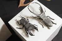 OrigamiUSA Convention 2015 Exhibition. Beetles designed and folded by Brian Chan.