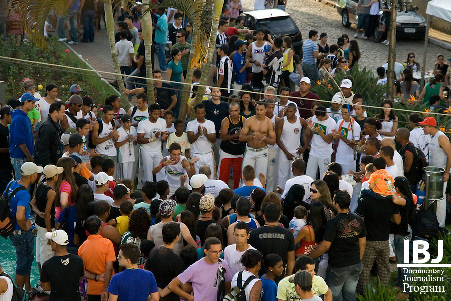Photo taken in Itapecerica, a town in close proximity to Divinopolis, Brazil. Both young and old are depicted here participating in a friendly capoeira competition, a popular form of 'dance-fighting' in Brazil. Itapecerica celebrated its annual Winter Festival with capoeira tournaments, music, street food and carnival attractions. 2008 JusticeMaker Dr. Aziz Saliba is creating two educational DVDs in Divinopolis about citizen rights to habeas corpus and the Inter-American Court.