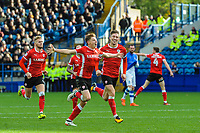 Barnsley's midfielder Harvey Barnes (15) celebrates his strike in the top corner during the Sky Bet Championship match between Sheff Wednesday and Barnsley at Hillsborough, Sheffield, England on 28 October 2017. Photo by Stephen Buckley / PRiME Media Images.