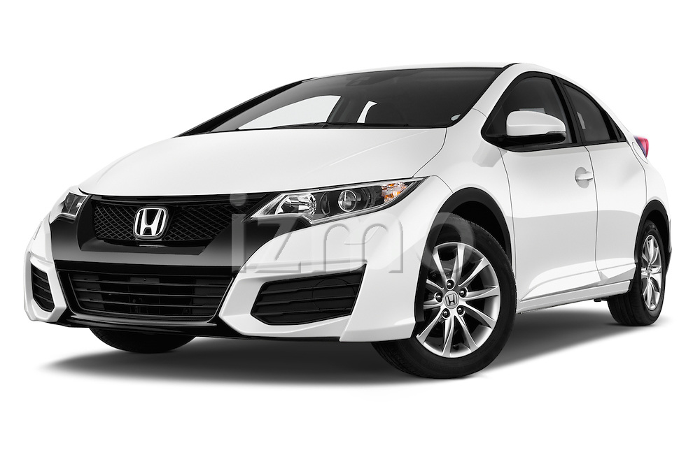 Stock pictures of low aggressive front three quarter view of 2015 Honda Civic Comfort 5 Door Hatchback Low Aggressive