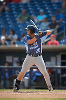 West Michigan Whitecaps third baseman Jordan Pearce (20) at bat during a game against the Quad Cities River Bandits on July 23, 2018 at Modern Woodmen Park in Davenport, Iowa.  Quad Cities defeated West Michigan 7-4.  (Mike Janes/Four Seam Images)
