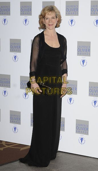 JULIET STEVENSON.The Laurence Olivier Awards 2010, Grosvenor House Hotel, London, England. .21st March 2010.full length black dress sheer wrap clutch bag maxi.CAP/CAN.©Can Nguyen/Capital Pictures.