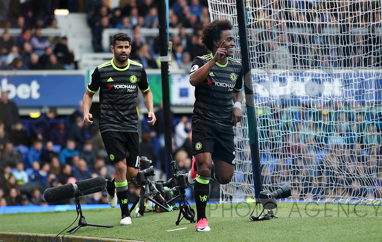 Willian of Chelsea celebrates during the English Premier League match at Goodison Park , Liverpool. Picture date: April 30th, 2017. Photo credit should read: Lynne Cameron/Sportimage
