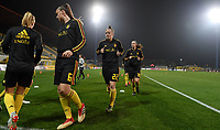 20191108 - Zapresic , BELGIUM : Belgian Tine De Caigny and Laura Deloose pictured during warming up of the female soccer game between the womensoccer teams of  Croatia and the Belgian Red Flames , the third women football game for Belgium in the qualification for the European Championship round in group H for England 2021, friday 8 th october 2019 at the NK Inter Zapresic stadium near Zagreb , Croatia .  PHOTO SPORTPIX.BE | DAVID CATRY