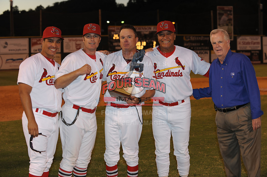 Johnson City Coaches pose with Appalachian League Championship Trophy and League President after defeating the Elizabethton Twins 6-2 at Howard Johnson Field, Johnson City Tennessee (L-R) Rene Rojas, Doug White, Mike Shildt, Ramon Ortiz and Lee Landers