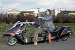 "Hiroe Kobayashi & Megumi Takada on Honda ""Fusion 3000"" ( Bike Shop Freedom )."