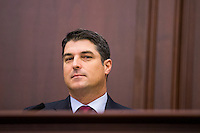 TALLAHASSEE, FLA. 1/12/16-House Speaker Steve Crisafulli, left, R-Merritt Island, watches members of the Senate enter prior to the State of the State address during the opening day of the 2016 legislative session, Tuesday at the Capitol in Tallahassee.<br /> <br /> COLIN HACKLEY PHOTO
