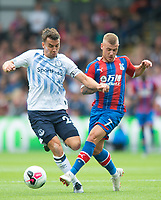 Everton Seamus Coleman and Crystal Palace Max Meyer during the Premier League match between Crystal Palace and Everton at Selhurst Park, London, England on 10 August 2019. Photo by Andrew Aleksiejczuk / PRiME Media Images.