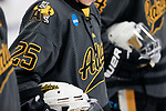 ADRIAN, MI - MARCH 18: A detailed view of the Adrian College sweater during the Division III Women's Ice Hockey Championship held at Arrington Ice Arena on March 19, 2017 in Adrian, Michigan. Plattsburgh State defeated Adrian 4-3 in overtime to repeat as national champions for the fourth consecutive year. by Tony Ding/NCAA Photos via Getty Images)