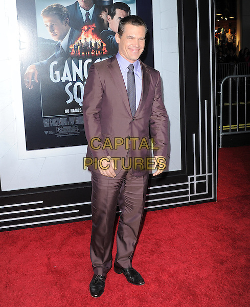 "Josh Brolin.""Gangster Squad"" Los Angeles Premiere held at Grauman's Chinese Theatre, Hollywood, California, USA.     .January 7th, 2013.full length brown suit purple shirt maroon burgundy .CAP/DVS.©DVS/Capital Pictures."