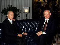 Montreal (Qc) CANADA, File Photo -<br /> <br /> Pierre E Trudeau (L) and Mikhael Gorbatchev<br /> <br /> <br /> photo (c) Pierre Roussel -  Images Distribution