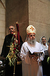 Israel, Jerusalem, Coptic Orthodox Palm Sunday ceremony at the Church of the Holy Sepulchre