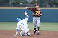 Colby Woodmansee #37 of the Arizona State Sun Devils throws to first base after forcing out Shane Zeile #9 of the UCLA Bruins during a game at Jackie Robinson Stadium on March 28, 2014 in Los Angeles, California. UCLA defeated Arizona State 7-3. (Larry Goren/Four Seam Images)