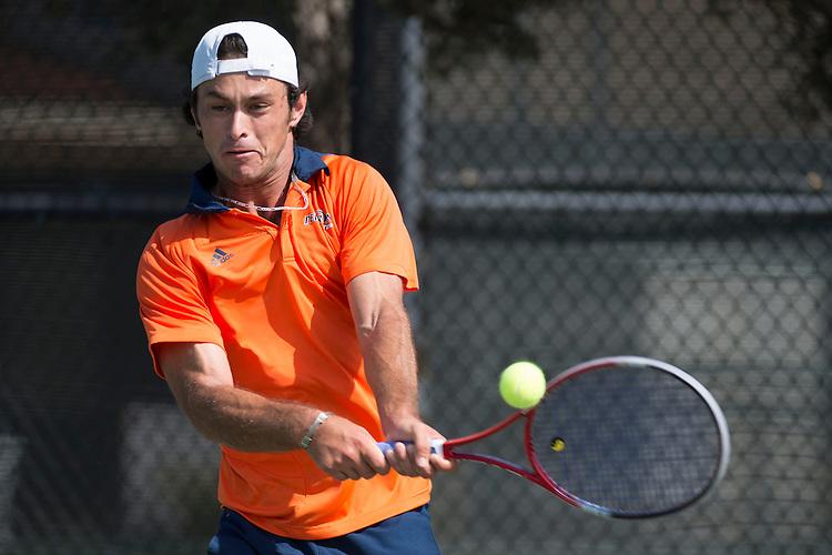 April 27, 2013; San Diego, CA, USA; Pepperdine Waves player Mousheg Hovhannisyan during the WCC Tennis Championships at Barnes Tennis Center.