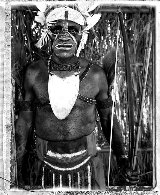 Member of the Suku village, from the Kagua District, Southern Highlands Province at the annual 'Sing-Sing' festival, Mount Hagen, Papua New Guinea, August 2004.