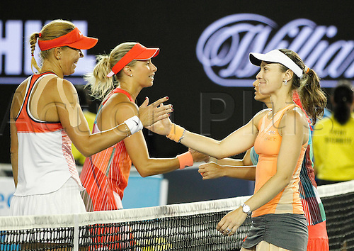 29.01.2016. Melbourne Park, Melbourne, Australia. Austalian Open Tennis Championship. Mens Semi Final Day. Marina Hingis and Sania Mirza shake hands after winning the ladies doubles against Czechs Andrea Hlavackova  and Lucie Hradecka