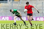 Jack Brosnan Glenbeigh Glencar in action against Padraig Ward Rock Saint Patricks in the Junior Football All Ireland Final in Croke Park on Sunday.