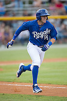Colton Frabasilio (18) of the Burlington Royals hustles down the first base line against the Greeneville Astros at Burlington Athletic Park on August 29, 2015 in Burlington, North Carolina.  The Royals defeated the Astros 3-1. (Brian Westerholt/Four Seam Images)