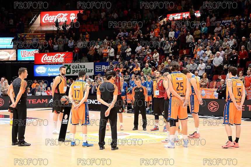 Minuto de silencio por el asesinato de Marko Ivkovic, aficionado del Estrella Roja de Belgrado.<br /> Euroleague - 2014/15<br /> Regular season Round 7<br /> Valencia Basket vs Galatasaray