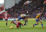 Billy Sharp of Sheffield Utd brought down in the penalty area during the English League One match at the Bramall Lane Stadium, Sheffield. Picture date: November 19th, 2016. Pic Simon Bellis/Sportimage