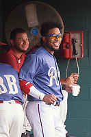 Frisco RoughRiders Elvis Andrus (1) during a Texas League game against the Midland RockHounds on May 22, 2019 at Dr Pepper Ballpark in Frisco, Texas.  (Mike Augustin/Four Seam Images)