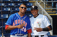 Auburn Doubledays outfielder Wander Ramos (26) and Staten Island Yankees catcher Jackson Valera prior to game at Richmond County Bank Ballpark at St.George on August 2, 2012 in Staten Island, NY.  Auburn defeated Staten Island 11-3.  Tomasso DeRosa/Four Seam Images