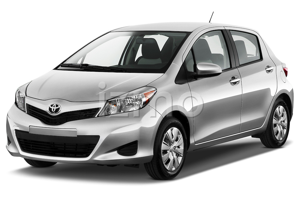 Front three quarter view of a 2012 Toyota Yaris 5 door LE.