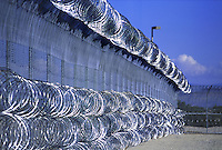 New prison construction in the Western United States, prison fence. Western United States.