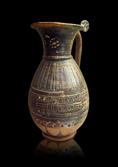 580 - 560 B.C olpai style jug made by the Etrusco-Corinthian Group of Palmette Fenicie, inv 71019,   National Archaeological Museum Florence, Italy , black background