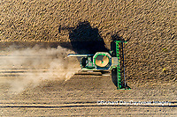 63801-13207 Harvesting soybeans in fall-aerial Marion Co. IL