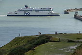 P&O cross channel ferry Spirit of Britain approaches the Eastern Docks, Port of Dover, Kent.