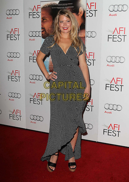 "Drew Denny.AFI FEST 2012 ""Rust And Bone"" Centerpiece Gala Screening held at the Egyptian Theatre, Hollywood, California, USA..November 5th, 2012.full length dress hand on hip black white red lipstick polka dot.CAP/ADM/KB.©Kevan Brooks/AdMedia/Capital Pictures."