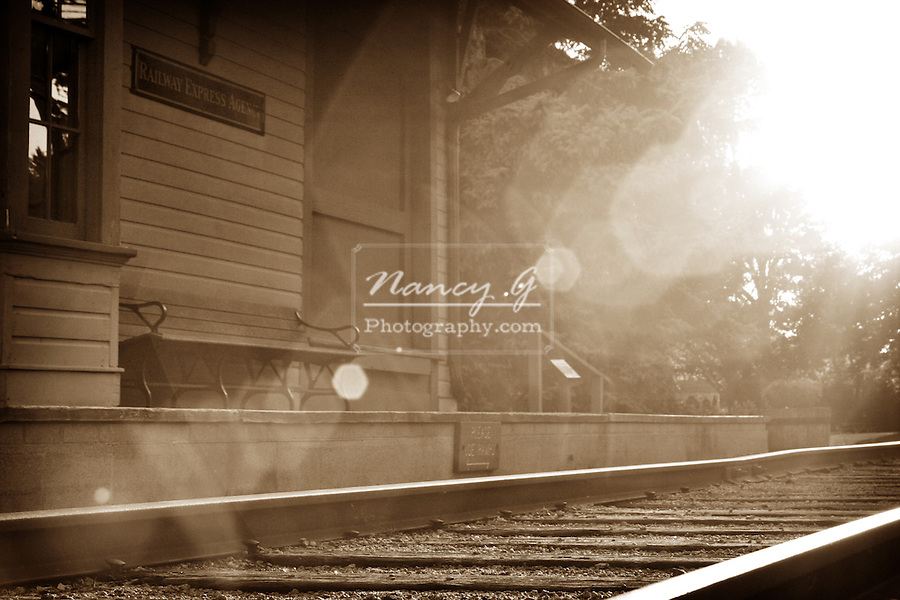 A historic train depot platform and railroad at Old Falls Village Menomonee Falls Wisconsin
