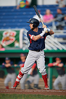 Lowell Spinners center fielder Cole Brannen (18) at bat during a game against the Batavia Muckdogs on July 16, 2018 at Dwyer Stadium in Batavia, New York.  Lowell defeated Batavia 4-3.  (Mike Janes/Four Seam Images)