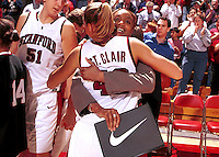 Tia Jackson with Lauren St. Clair during the 1999-2000 women's basketball season at Maples Pavilion in Stanford, CA.