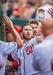 15 June 2016: Washington Nationals shortstop Stephen Drew returns to the dugout after pinch hitting an 8th inning solo home run against the Chicago Cubs at Nationals Park in Washington, DC. The Nationals defeated the Cubs 5-4 in 12 innings to take the rubber match of their 3-game series. Mandatory Credit: Ed Wolfstein Photo *** RAW (NEF) Image File Available ***