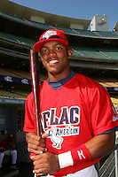 August 9 2008: Braxton Lane participates in the Aflac All American baseball game for incoming high school seniors at Dodger Stadium in Los Angeles,CA.  Photo by Larry Goren/Four Seam Images
