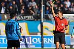 16.02.2020, Carl-Benz-Stadion, Mannheim, GER, 3. Liga, SV Waldhof Mannheim vs. FC Carl Zeiss Jena, <br /> <br /> DFL REGULATIONS PROHIBIT ANY USE OF PHOTOGRAPHS AS IMAGE SEQUENCES AND/OR QUASI-VIDEO.<br /> <br /> im Bild: Gelbe Karte von Schiedsrichter Robert Hartmann fuer Arianit Ferati (SV Waldhof Mannheim #10)<br /> <br /> Foto © nordphoto / Fabisch