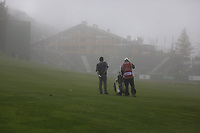 Fabrizio Zanotti (PAR) prepares to play his 2nd shot in the mist on the 18th hole during Sunday's fog delayed Round 3 of the 2017 Omega European Masters held at Golf Club Crans-Sur-Sierre, Crans Montana, Switzerland. 10th September 2017.<br /> Picture: Eoin Clarke | Golffile<br /> <br /> <br /> All photos usage must carry mandatory copyright credit (&copy; Golffile | Eoin Clarke)