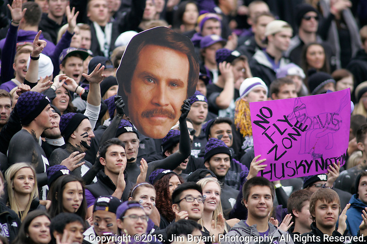 Washington fans cheer against Oregon during a college football game at Husky Stadium in Seattle, Washington on October 12, 2013. The Oregon Ducks beat the Washington Huskies 45-24.  © 2013. Jim Bryant Photo. All Rights Reserved.