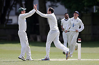 Finchley claim their third wicket during Finchley CC vs Brondesbury CC (batting), ECB National Club Championship Cricket at Arden Field on 12th May 2019