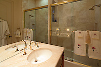 stock photo of bathroom sink and shower tub