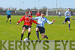 Park's Karl Mullins in Action with Salthill's Evan Murphy in the National Cup Quarter Final St. Brendan's Park FC Vs Salthill Devon FC at Christy Leahy Park on Sunday