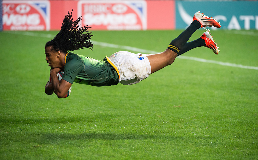 South Africa Vs Argentina.South Africa beat Argentina in the first day of the Hong Kong 7's rugby. Cecil Afrika scores the first points with a sensational try.27.03.15. 27th March 2015.