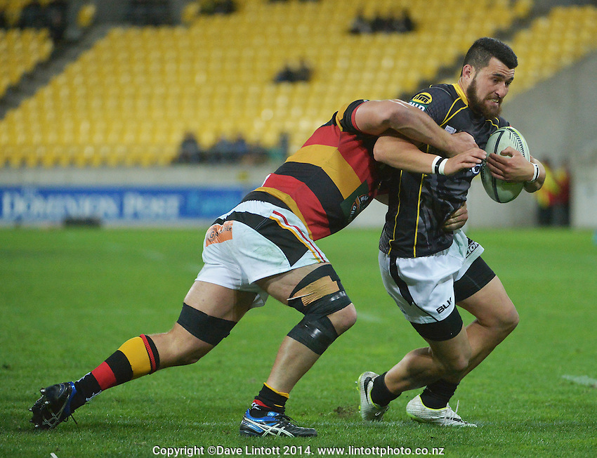 Jared Kahu in action during the ITM Cup rugby union match between Wellington Lions and Waikato at Westpac Stadium, Wellington, New Zealand on Saturday, 16 August 2014. Photo: Dave Lintott / lintottphoto.co.nz