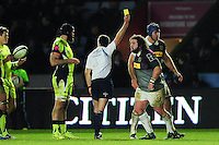 Adam Jones of Harlequins is shown a yellow card. Anglo-Welsh Cup match, between Harlequins and Sale Sharks on February 3, 2017 at the Twickenham Stoop in London, England. Photo by: Patrick Khachfe / JMP