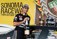 Jul. 28, 2013; Sonoma, CA, USA: NHRA pro stock driver Vincent Nobile celebrates after winning the Sonoma Nationals at Sonoma Raceway. Mandatory Credit: Mark J. Rebilas-